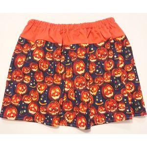 OOAK Handmade Halloween pumpkin Toddler 4 skirt